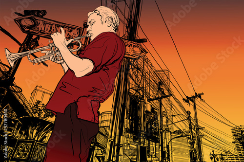 Tuinposter Muziekband trumpeter on a cityscape background