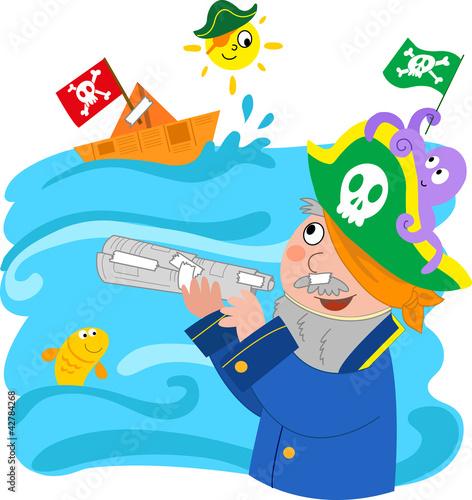 Photo Stands Pirates Bambino che gioca a fare il pirata, vettoriale.