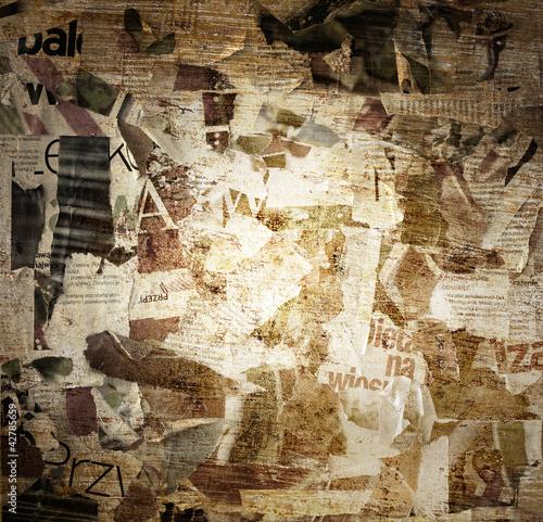 Fotobehang Kranten torn poster paper frame grunge background concept