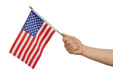 Hand Holding American Flag On ...