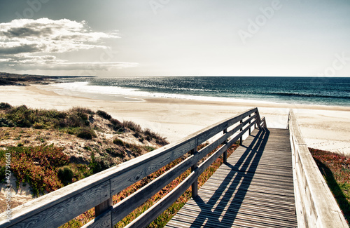 Foto-Leinwand - Super image of a boardwalk to the beach