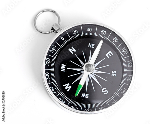 Photo black Compass isolated on a white background