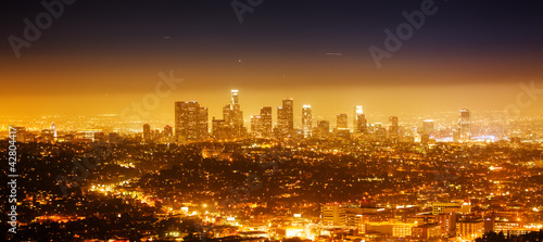 Foto op Plexiglas Los Angeles Los Angeles, night panorama