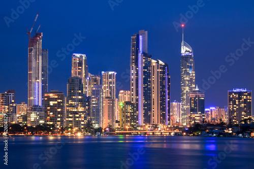 Printed kitchen splashbacks Australia view on surfers paradise at night