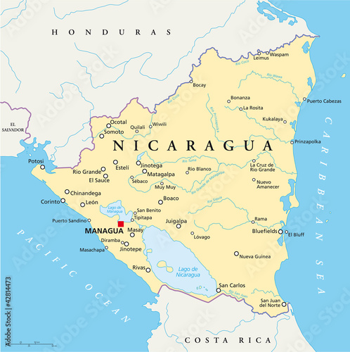 Fotografia Nicaragua political map with capital Managua, with national borders, most important cities, rivers and lakes