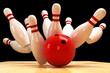 Leinwandbild Motiv Skittle and Bowling Ball