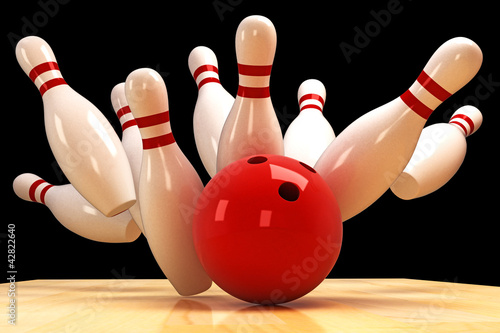 Foto  Skittle and Bowling Ball