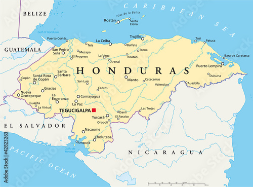 Türaufkleber Weltkarte Honduras political map with capital Tegucigalpa, with national borders, most important cities, rivers and lakes. Illustration with English labeling and scaling. Vector.