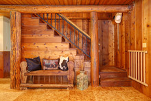 Rustic Log Cabin Stairace And ...