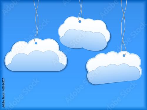 Poster Ciel Hanging paper clouds
