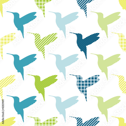 Blue/Green Hummingbirds Pattern Seamless Pattern - 42839611