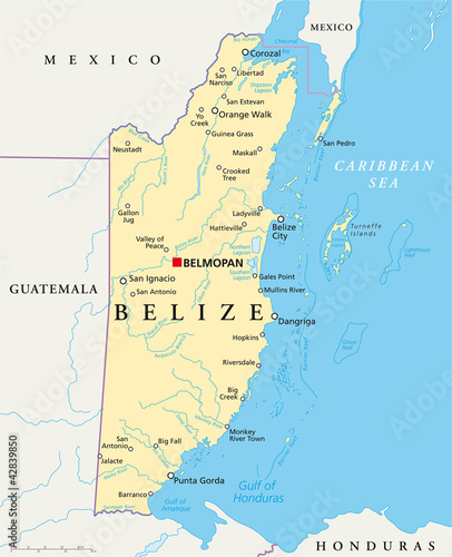 Photo Belize political map with capital Belmopan, national borders, most important cities, rivers and lakes