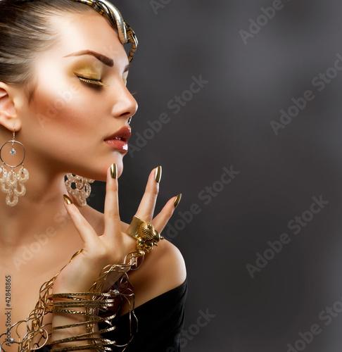 Poster - Fashion Girl Portrait. Golden Makeup