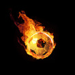 canvas print picture - Fussball in Flammen