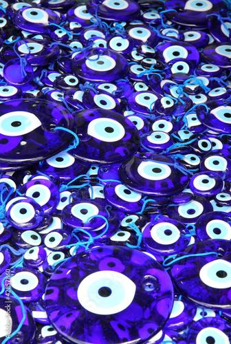 Traditional turkish eye-shaped amulets (nazar boncugu) Poster