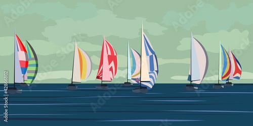 Fotografia Vector illustration of sailing yacht regatta.