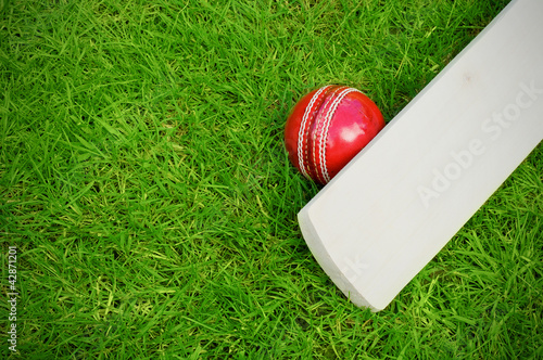 cricket bat and ball Fototapeta