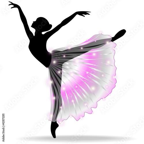Aluminium Prints Draw Ballerina Danza Classica-Classic Dance Dancer-Vector Silhouette