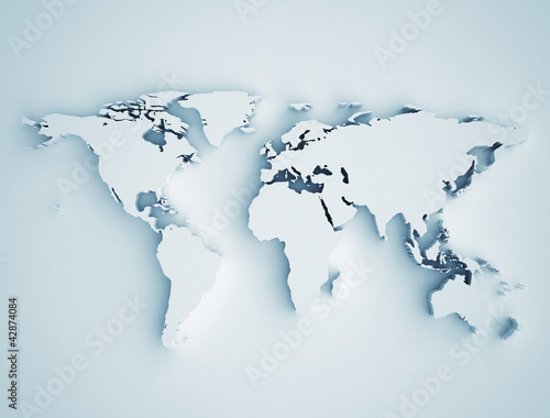 Photo sur Toile Carte du monde World map 3D