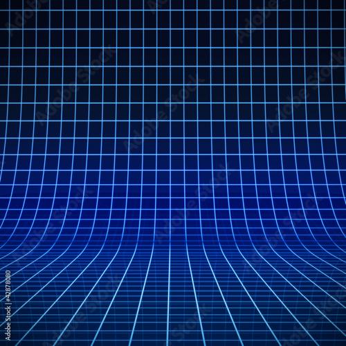 Fotografía  Blau leuchtendes Gitter auf gebogener Bühne 3D