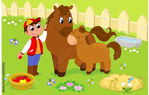 Poster Ranch Ragazzo che si prende cura di cavalla e puledro, vettore