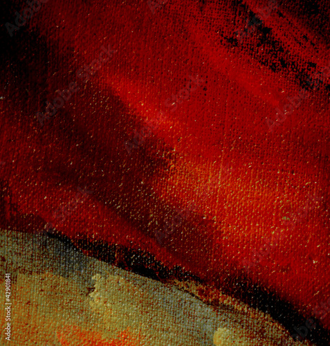 abstract painting on canvas with active red, illustration, backg