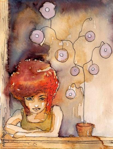 Poster Inspiration painterly kobieta z kwiatem