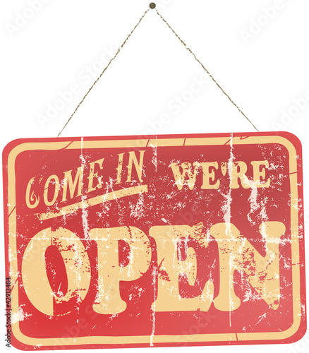 Papiers peints Affiche vintage vintage Open Sign Hanging, isolated On White Background