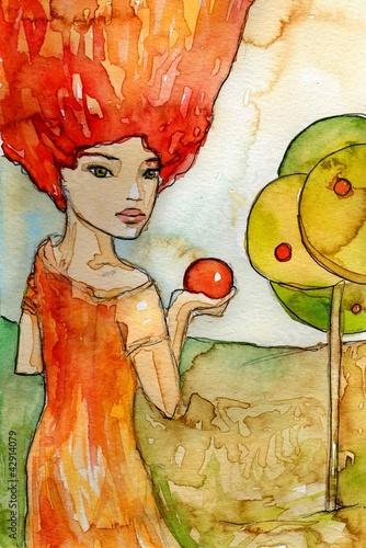 Poster Inspiration painterly z jabłkiem