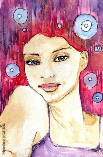 Poster Inspiration painterly portret w kolorze różowym