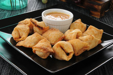 Crab Rangoon With Peanut Sauce