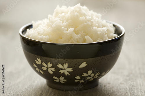Fotografie, Obraz  Ryż w misce gotowany na parze
