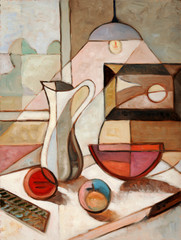 Panel Szklany Owoce Oil Painting of Still Life With Pitcher