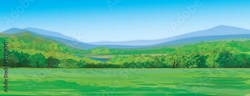 Fototapeta Vector of mountain landscape obraz na płótnie