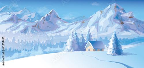 Vector of winter landscape. Canvas-taulu