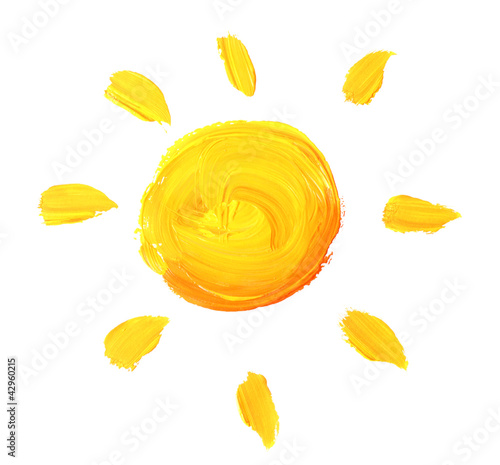 bright sun painted isolated on white