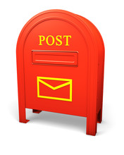 Red Isolated Postbox With An Envelope Sign