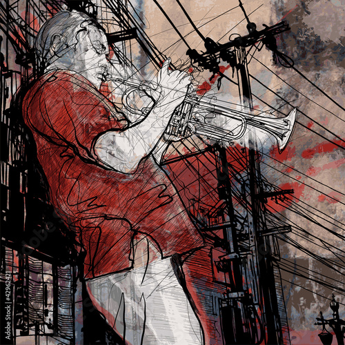 Poster Muziekband trumpeter on a grunge cityscape background