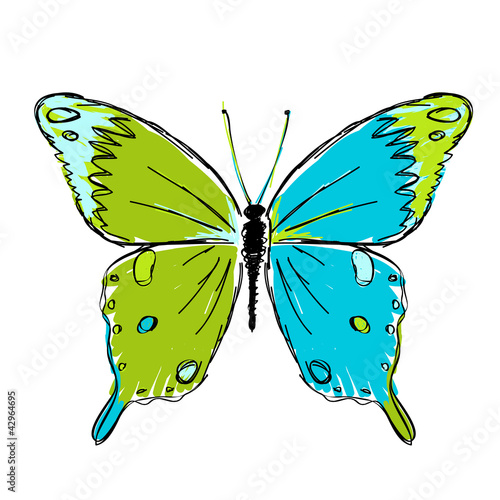 Foto op Aluminium Vlinders in Grunge Sketch of butterfly for your design