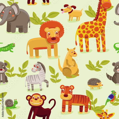 Foto op Aluminium Zoo vector seamless pattern with cartoon animals