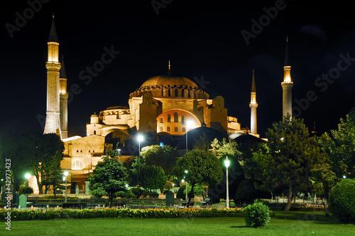 Hagia Sophia - St.Sophia and Blue Mosque Evening Poster