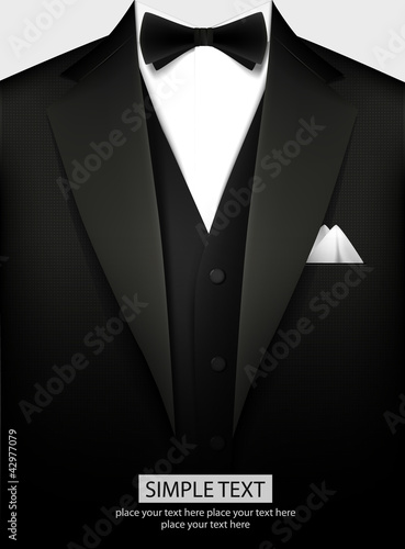 Fototapeta Tuxedo vector background with bow