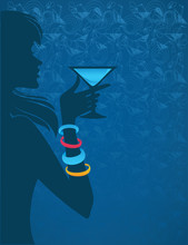 Vector Background With Girl, Cocktail And Seamless