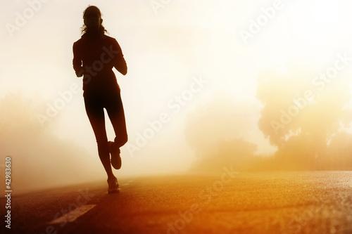 Foto-Stoff bedruckt - Athlete running road silhouette (von Daxiao Productions)