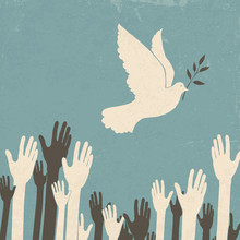 Group Of Hands And Dove Of Peace. Retro Illustration, EPS10