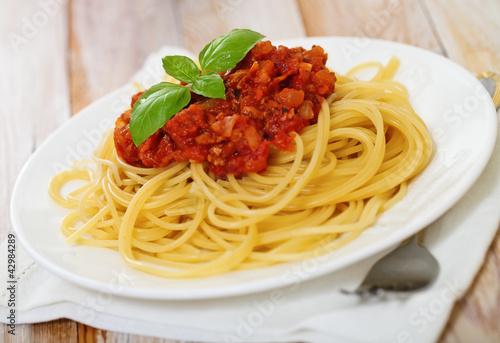Fotografie, Obraz  Spaghetti Bolognese on white plate