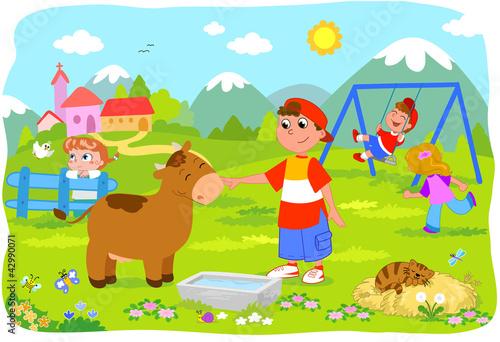 Bambini In Vacanza Che Giocano In Montagna Kaufen Sie Diese