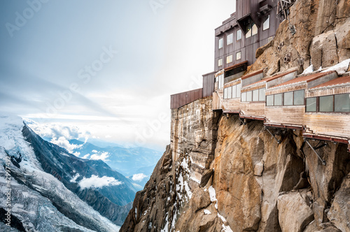 Photo View of the Alps from Aiguille du Midi mountain.
