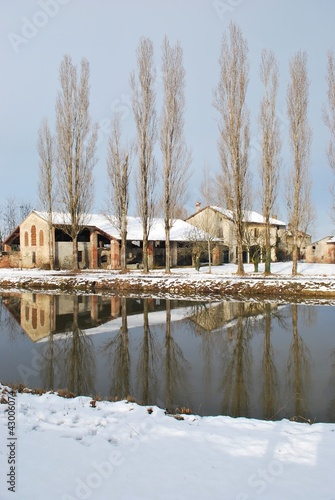 Poster Sheep Country house in winter with snow and river