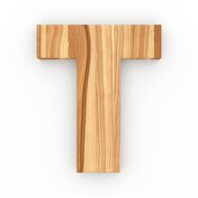 3d Font Wood Ash Letter T